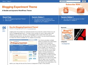 Blogging Experiment WordPress Theme